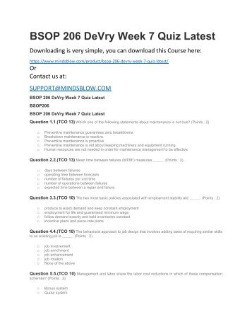 BSOP 206 DeVry Week 7 Quiz Latest
