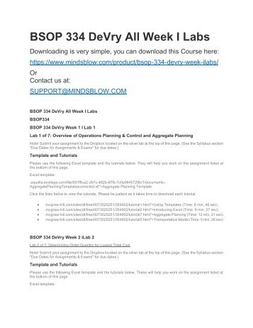 BSOP 334 DeVry All Week I Labs