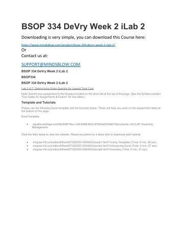 BSOP 334 DeVry Week 2 iLab 2