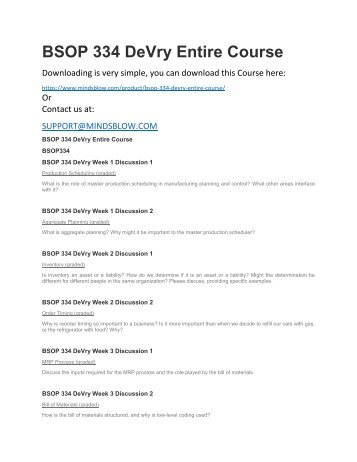 BSOP 334 DeVry Entire Course