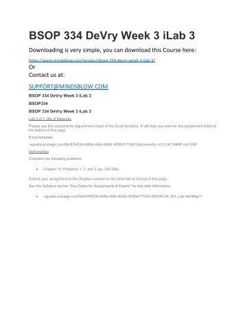 BSOP 334 DeVry Week 3 iLab 3