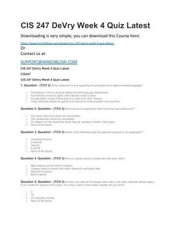 CIS 247 DeVry Week 4 Quiz Latest