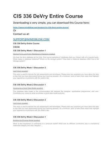 CIS 336 DeVry Entire Course