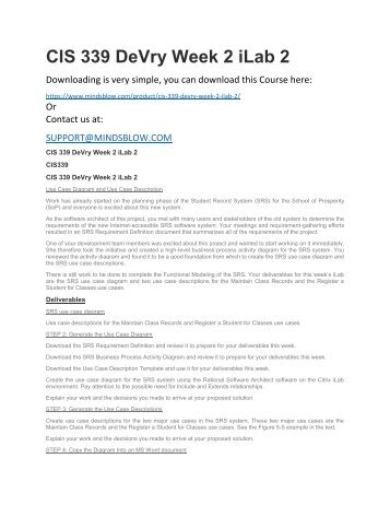 CIS 339 DeVry Week 2 iLab 2