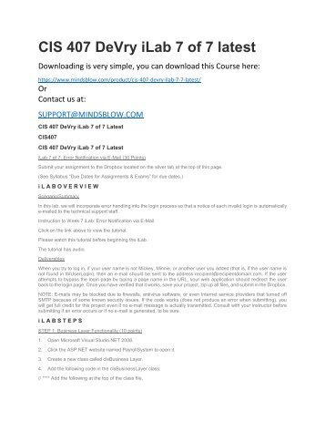 CIS 407 DeVry iLab 7 of 7 latest