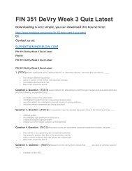 FIN 351 DeVry Week 3 Quiz Latest