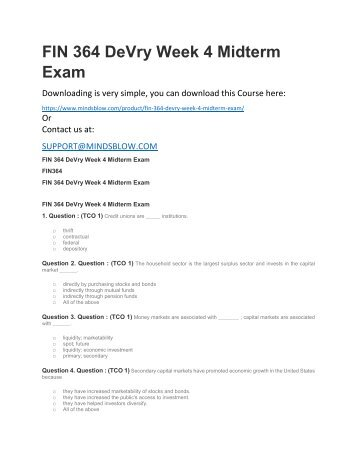 FIN 364 DeVry Week 4 Midterm Exam