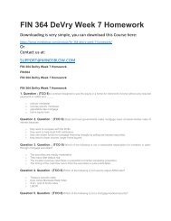 FIN 364 DeVry Week 7 Homework