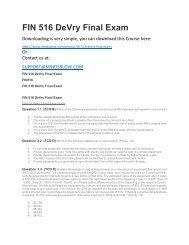 FIN 516 DeVry Final Exam