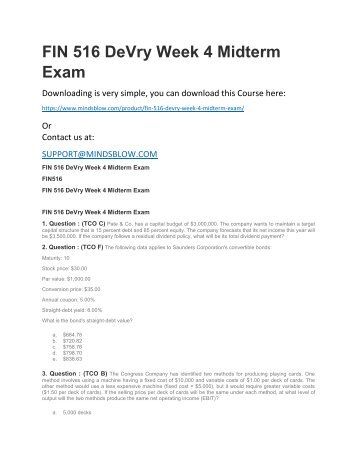 FIN 516 DeVry Week 4 Midterm Exam