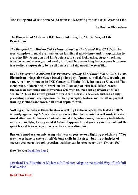 The Blueprint of Modern Self-Defense: Adopting the Martial