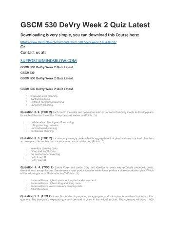 GSCM 530 DeVry Week 2 Quiz Latest