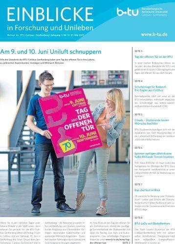 Einblick in Forschung und Unileben - Beilage der BTU Cottbus - Senftenberg | Ausgabe 3