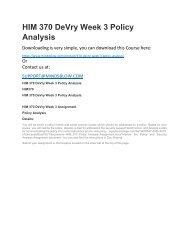 HIM 370 DeVry Week 3 Policy Analysis