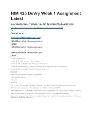 HIM 435 DeVry Week 1 Assignment Latest