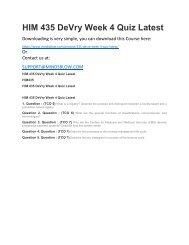 HIM 435 DeVry Week 4 Quiz Latest