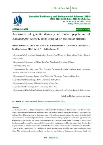 Assessment of genetic diversity of iranian population of Anethum graveolens L. (dill) using AFLP molecular markers