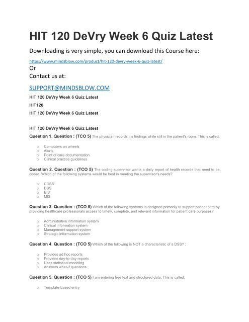 HIT 120 DeVry Week 6 Quiz Latest