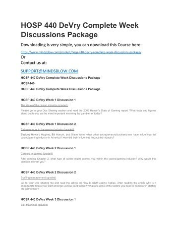 HOSP 440 DeVry Complete Week Discussions Package