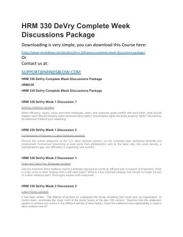 HRM 330 DeVry Complete Week Discussions Package
