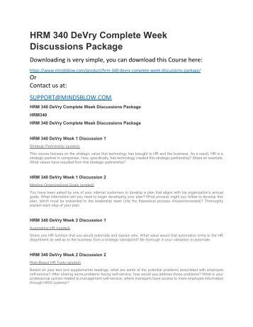 HRM 340 DeVry Complete Week Discussions Package
