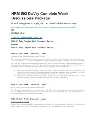 HRM 592 DeVry Complete Week Discussions Package