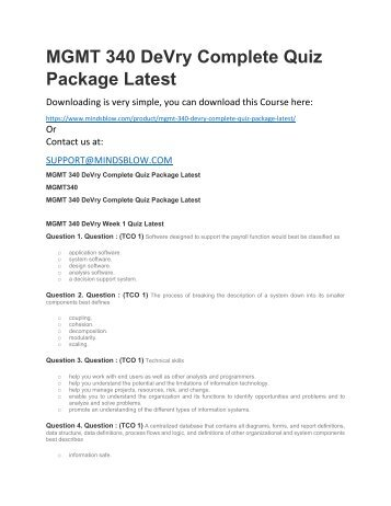 MGMT 340 DeVry Complete Quiz Package Latest