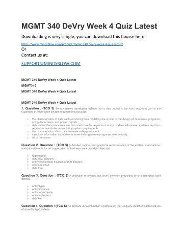 MGMT 340 DeVry Week 4 Quiz Latest