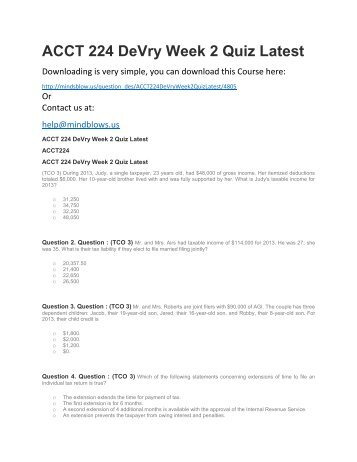 ACCT 224 DeVry Week 2 Quiz Latest