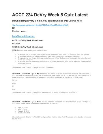 ACCT 224 DeVry Week 5 Quiz Latest