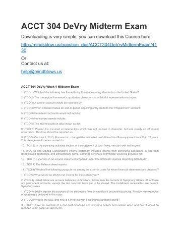 ACCT 304 DeVry Midterm Exam