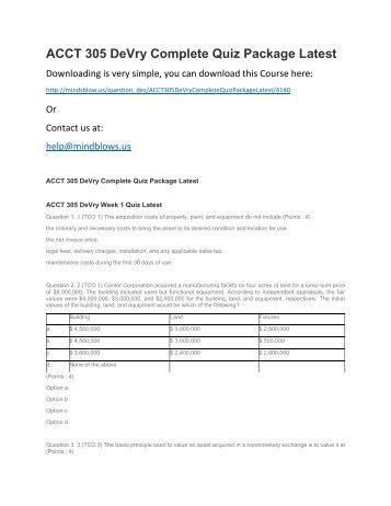 ACCT 305 DeVry Complete Quiz Package Latest