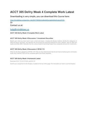 ACCT 305 DeVry Week 4 Complete Work Latest
