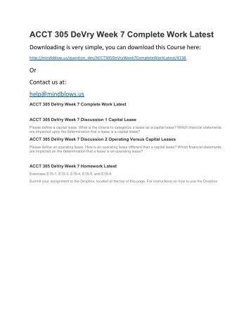 ACCT 305 DeVry Week 7 Complete Work Latest