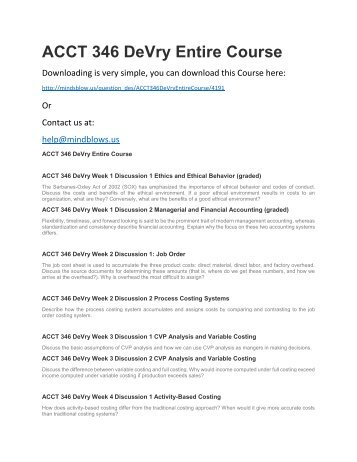 ACCT 346 DeVry Entire Course