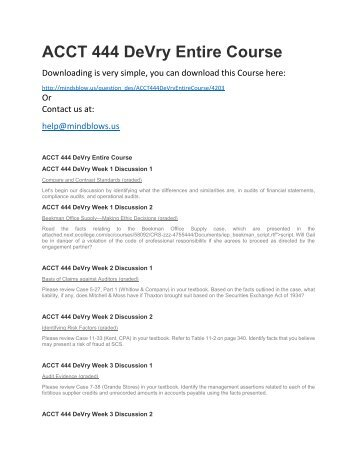 ACCT 444 DeVry Entire Course