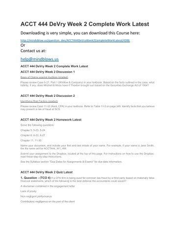 ACCT 444 DeVry Week 2 Complete Work Latest