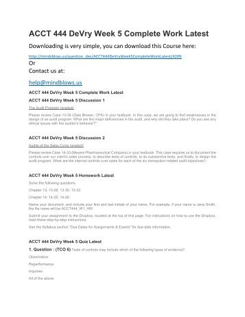 ACCT 444 DeVry Week 5 Complete Work Latest