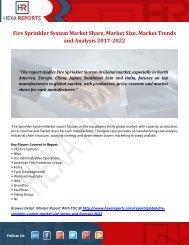 Fire Sprinkler System Market Share, Market Size, Market Trends and Analysis 2017-2022