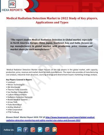 Medical Radiation Detection Market to 2022 Study of Key players, Applications and Types