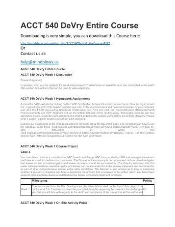ACCT 540 DeVry Entire Course