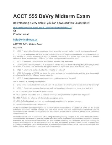 ACCT 555 DeVry Midterm Exam