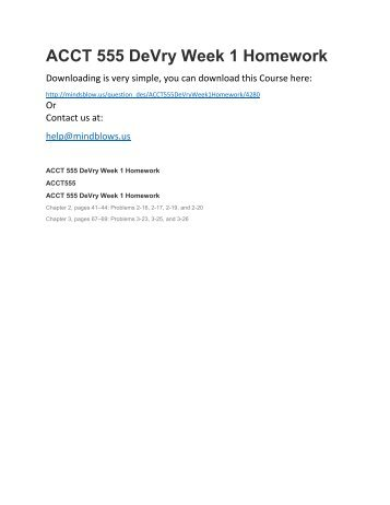 ACCT 555 DeVry Week 1 Homework