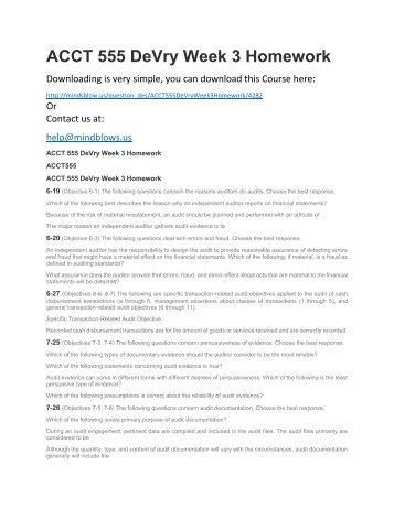 ACCT 555 DeVry Week 3 Homework