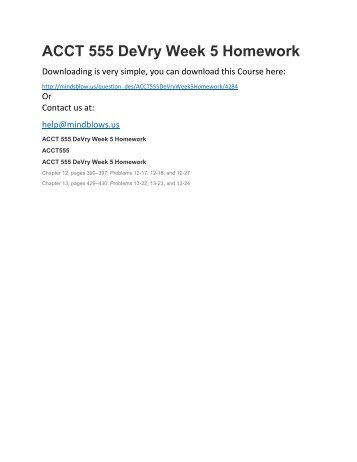 ACCT 555 DeVry Week 5 Homework