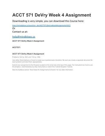 ACCT 571 DeVry Week 4 Assignment