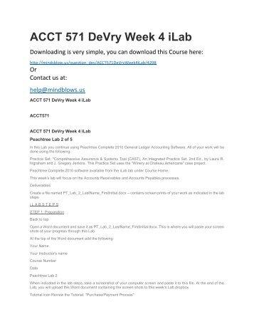 ACCT 571 DeVry Week 4 iLab