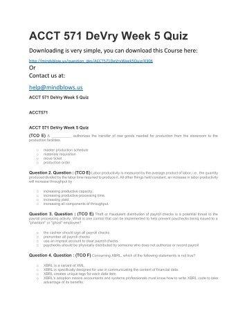 ACCT 571 DeVry Week 5 Quiz