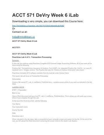 ACCT 571 DeVry Week 6 iLab