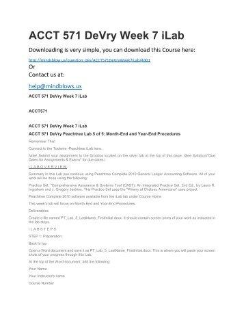 ACCT 571 DeVry Week 7 iLab